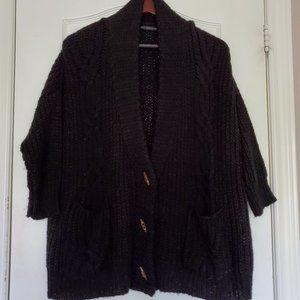 QED London Black Cable Knit Cardigan